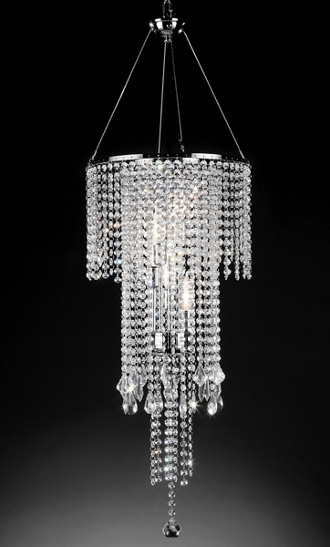 """Fantasy"" Real Crystal Chandelier - 14"" x 32""- 5 Lights - Hardwire"
