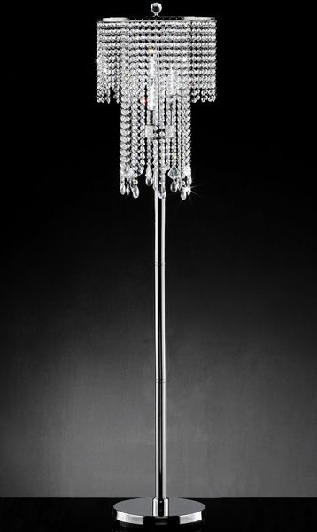 """Fantasy"" Real Crystal Floor Lamp - 14""Lx14""Wx63""H"
