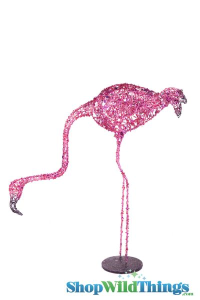 "CLEARANCE! Flamingo Prop 25"" Glitter & Sequins - Head Looking Down"