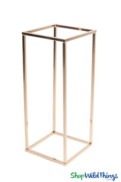 "Floral & Centerpiece Rectangle Riser Stand ""Mia"" Shiny Metallic Gold 24"""