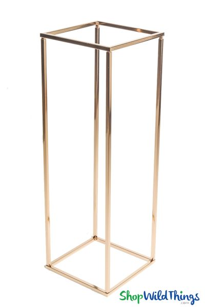 "Floral & Centerpiece Rectangle Riser Stand ""Mia"" Shiny Metallic Gold 32"""