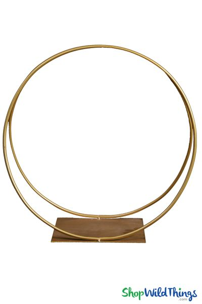 """Floral Riser & Centerpiece Stand """"Revolve"""" Gold Tabletop Circle 18"""""""