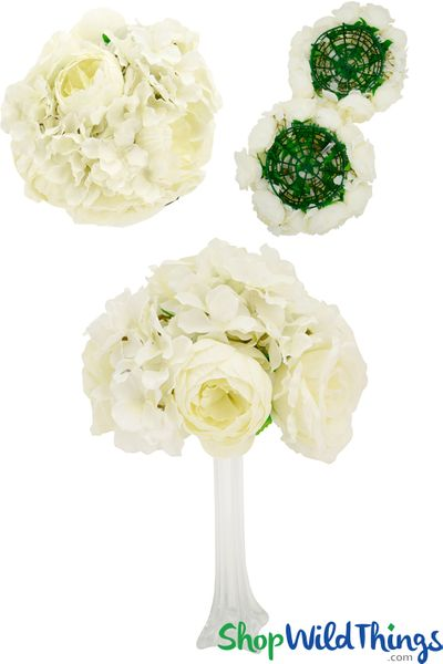 "Flower Ball 10"" (2 in 1) Premium Silk Roses, Peonies & Hydrangeas - Cream"