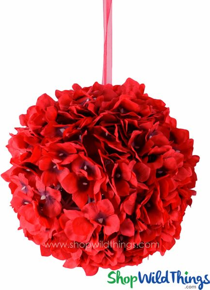 "COMING SOON! Flower Ball - Silk Hydrangea - Pomander Kissing Ball 10"" - Bright Red"