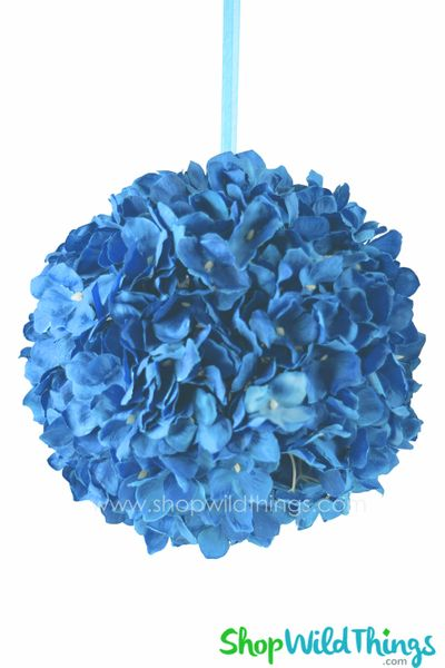"Flower Ball - Silk Hydrangea - Pomander Kissing Ball 10"" - Medium Blue"