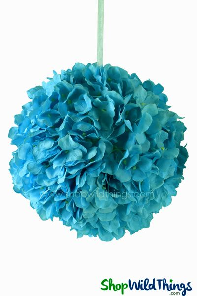 "Flower Ball - Silk Hydrangea - Pomander Kissing Ball 6"" - Turquoise"