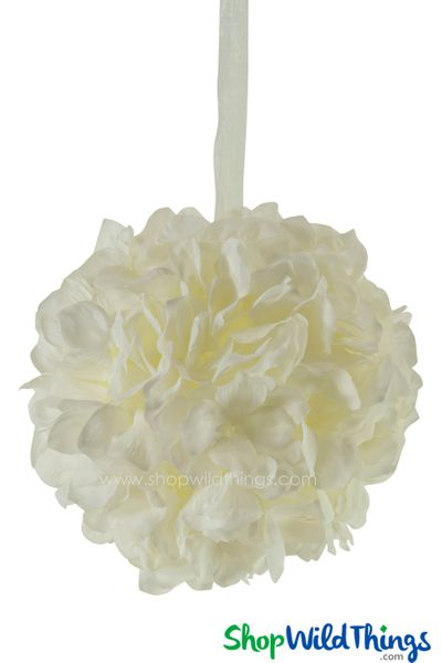 "Flower Ball - Silk Hydrangea - Pomander Kissing Ball 6"" - Ivory"