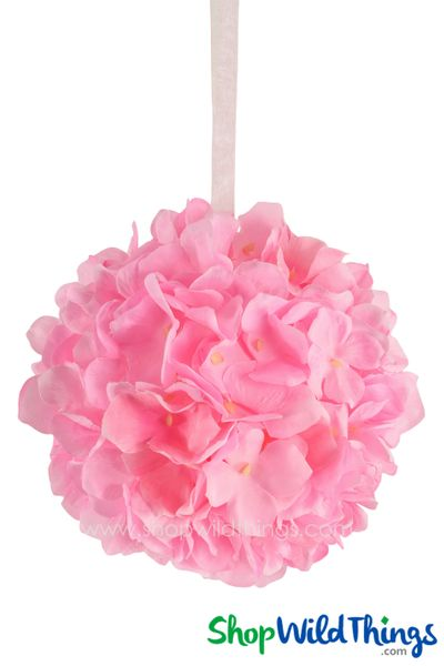 "Flower Ball - Silk Hydrangea - Pomander Kissing Ball 6"" - Pink"
