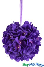 "Flower Ball - Silk Hydrangea - Pomander Kissing Ball 6"" - Purple"