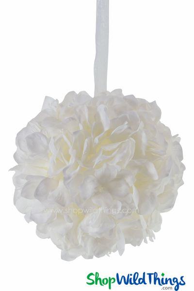 "Flower Ball - Silk Hydrangea - Pomander Kissing Ball 6"" - White"