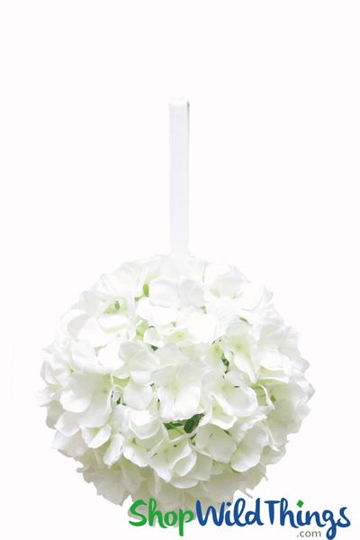 "Flower Ball - Silk Hydrangea - Pomander Kissing Ball 8"" - Ivory"