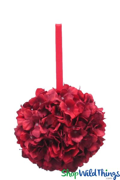 "Flower Ball - Silk Hydrangea - Pomander Kissing Ball 8"" - Romantic Red Two-Toned"