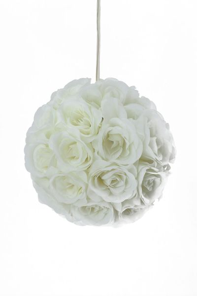 "Flower Ball - Silk Rose - Pomander Kissing Ball 10.5"" - Ivory"