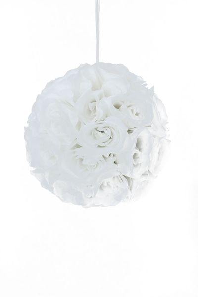 "Flower Ball - Silk Rose - Pomander Kissing Ball 10.5"" - White"