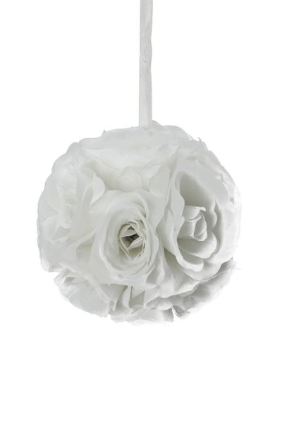 "Flower Ball - Silk Rose - Pomander Kissing Ball 4.5"" - White - BUY MORE, SAVE MORE!"