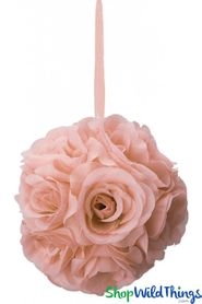"Flower Ball - Silk Rose Pomander Kissing Ball 6 1/2"" - Blush Pink"