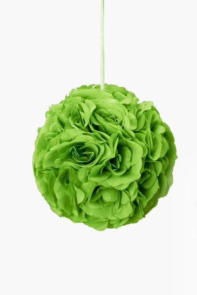 "Flower Ball - Silk Rose - Pomander Kissing Ball 6"" - Apple Green - BUY MORE, SAVE MORE!"