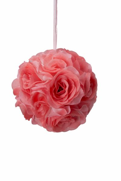 "Flower Ball - Silk Rose - Pomander Kissing Ball 6"" - Coral - BUY MORE, SAVE MORE!"