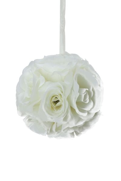 "Flower Ball - Silk Rose - Pomander Kissing Ball 6"" - Ivory - BUY MORE, SAVE MORE!"