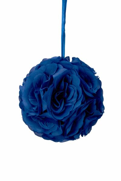 "Flower Ball - Silk Rose - Pomander Kissing Ball 6"" - Royal Blue - BUY MORE, SAVE MORE!"