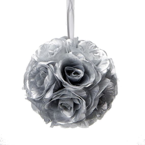 "Flower Ball - Silk Rose - Pomander Kissing Ball 6"" - Silver - BUY MORE, SAVE MORE!"
