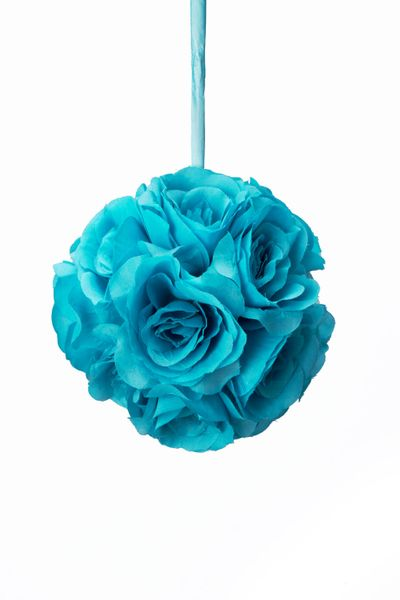 "Flower Ball - Silk Rose - Pomander Kissing Ball 6"" - Turquoise - BUY MORE, SAVE MORE!"