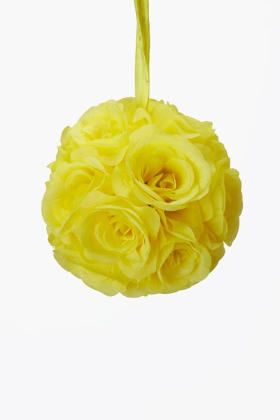 "Flower Ball - Silk Rose - Pomander Kissing Ball 6"" - Yellow - BUY MORE, SAVE MORE!"