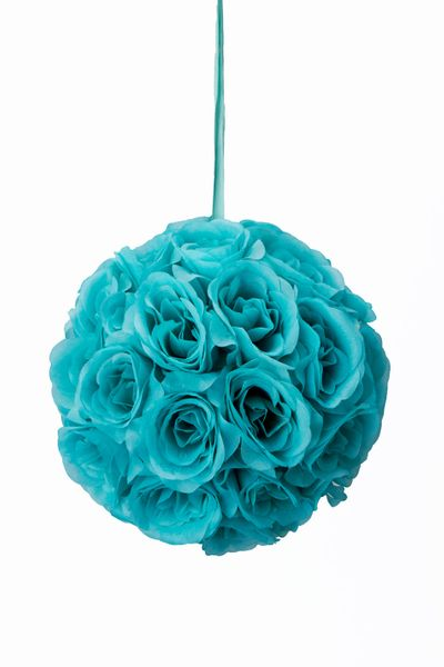 "Flower Ball - Silk Rose - Pomander Kissing Ball 8.5"" - Aqua - BUY MORE, SAVE MORE!"