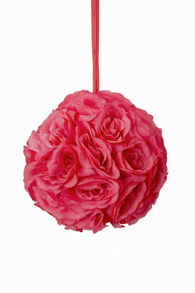 "Flower Ball - Silk Rose - Pomander Kissing Ball 8-5"" - Coral"