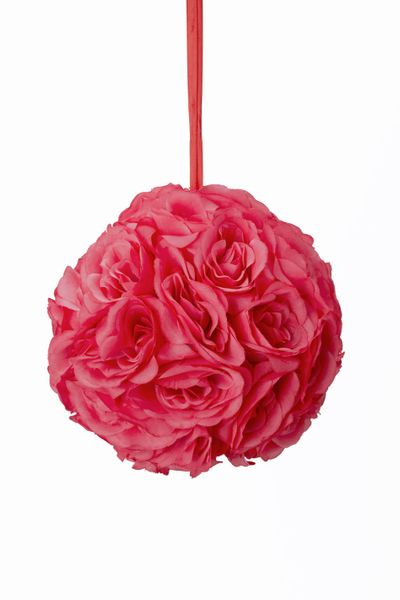"Flower Ball - Silk Rose - Pomander Kissing Ball 8.5"" - Coral - BUY MORE, SAVE MORE!"