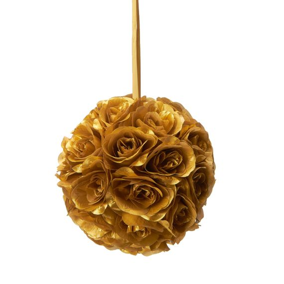 "Flower Ball - Silk Rose - Pomander Kissing Ball 8.5"" - Gold"