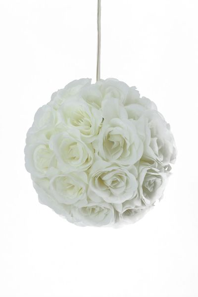 "Flower Ball - Silk Rose - Pomander Kissing Ball 8.5"" - Ivory -BUY MORE, SAVE MORE!"