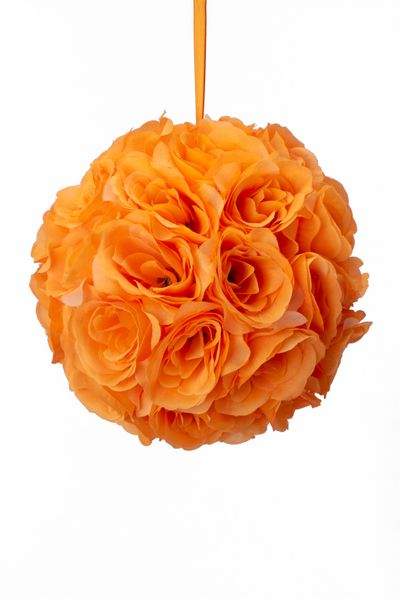 "COMING SOON! Flower Ball - Silk Rose - Pomander Kissing Ball 8.5"" - Orange - BUY MORE, SAVE MORE!"