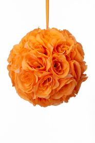 "Flower Ball - Silk Rose - Pomander Kissing Ball 8.5"" - Orange - BUY MORE, SAVE MORE!"