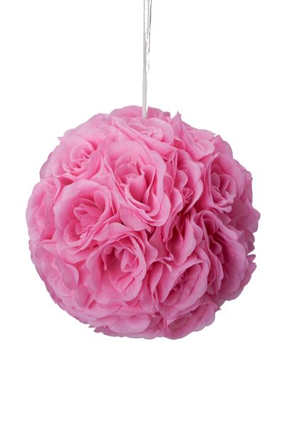 "Flower Ball - Silk Rose - Pomander Kissing Ball 8-5"" - Pink"