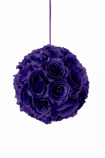 "Flower Ball - Silk Rose - Pomander Kissing Ball 8.5"" - Purple - BUY MORE, SAVE MORE!"