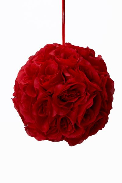 "Flower Ball - Silk Rose - Pomander Kissing Ball 8.5"" - Red - BUY MORE, SAVE MORE!"