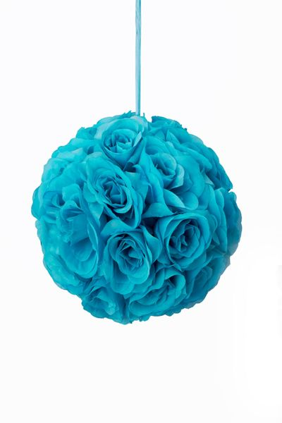 "Flower Ball - Silk Rose - Pomander Kissing Ball 8.5"" - Turquoise - BUY MORE, SAVE MORE!"