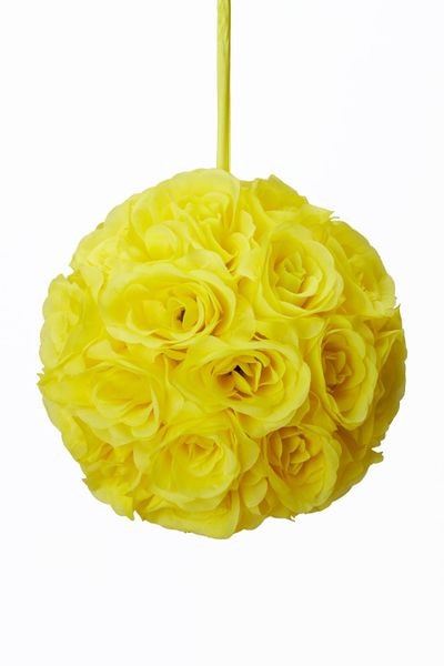 "Flower Ball - Silk Rose - Pomander Kissing Ball 8.5"" - Yellow - BUY MORE, SAVE MORE!"