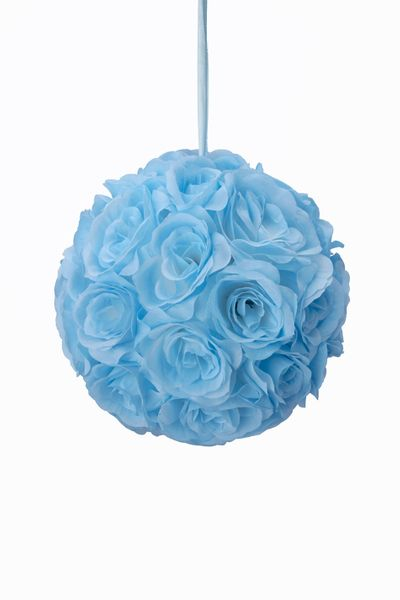 "Flower Ball - Silk Rose - Pomander Kissing Ball 8.5"" - Blue"