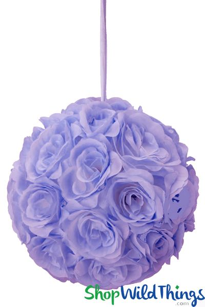 "Flower Ball - Silk Rose Pomander Kissing Ball 9 1/2"" - Lavender"