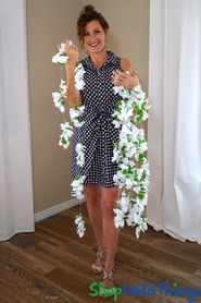 "Flower Garland with Bead Clusters ""Kaleen"" - White 70"""