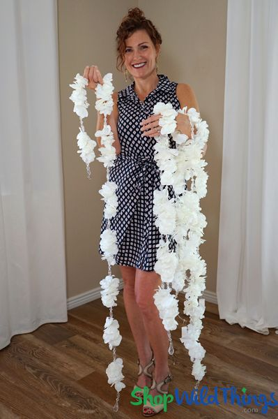 "COMING SOON! Flower Garland with Crystal Beads ""Okalani"" - White Plumeria 6' 8"""