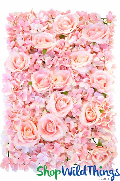 "Flower Wall 16 1/2"" x 24"" Silk Roses & Hydrangeas - Blush Pink"