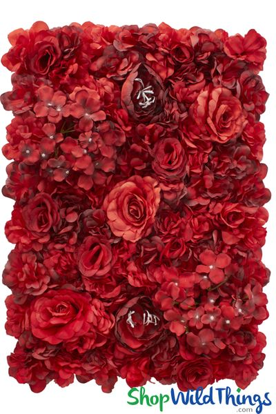 "Flower Wall 17"" x 24 1/2"" Red Roses & Hydrangea"