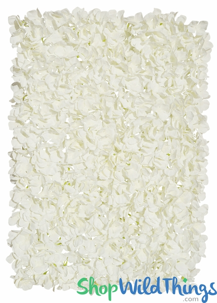"Flower Wall 17"" x 25"" Silk Hydrangeas - Light Cream"