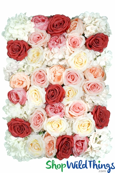 "COMING SOON! Flower Wall 18"" x 25"" Super-Premium Silk Floral Mix - Pinks, Red, Peach, Cream"