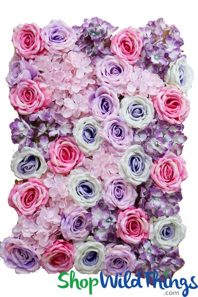 "COMING SOON! Flower Wall 18"" x 26"" Premium Extra Full Silk Floral Mix  Soft Purples & Pinks"
