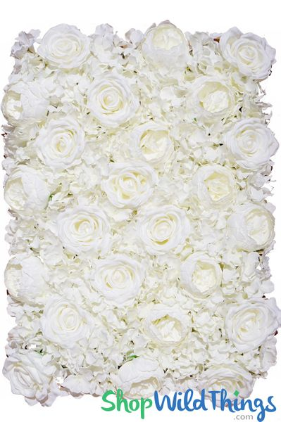 "COMING SOON! Flower Wall 19 1/2"" x 27"" Premium Silk Roses, Peonies & Hydrangeas - Cream"
