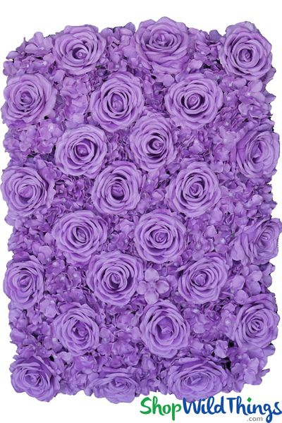 "Flower Wall 19"" x 27"" Premium Silk Roses & Hydrangeas - Purple"